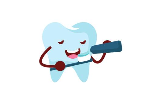 Cartoon Brush your teeth expression vector