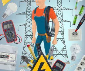 Cartoon Electrician vector
