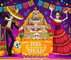 Cartoon Mexico dead day celebration vector