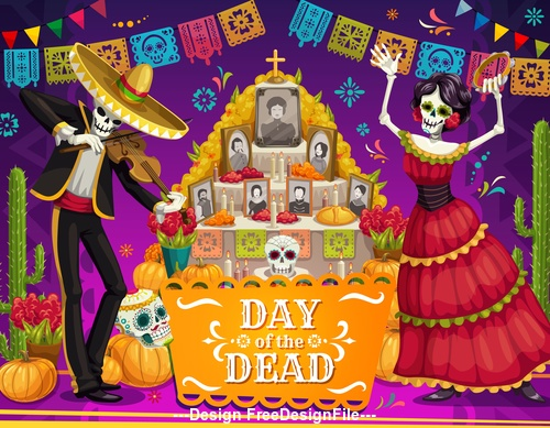 Cartoon Mexico dead day celebration vector
