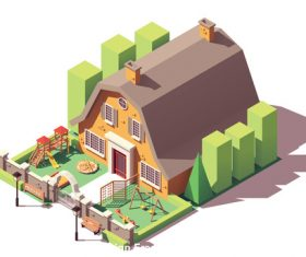 Cartoon architecture kindergarten vector