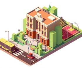 Cartoon architecture school vector