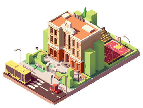 Cartoon architecture school vector
