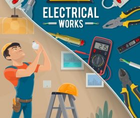 Cartoon banner Electrician professional vector