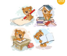 Cartoon bear reading book vector