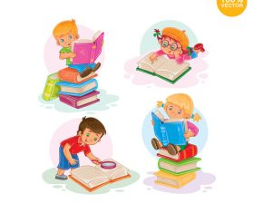Cartoon children reading books vector