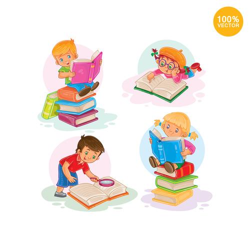 Cartoon children reading books vector