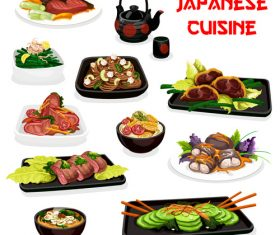 Cartoon cover japan cuisine vector