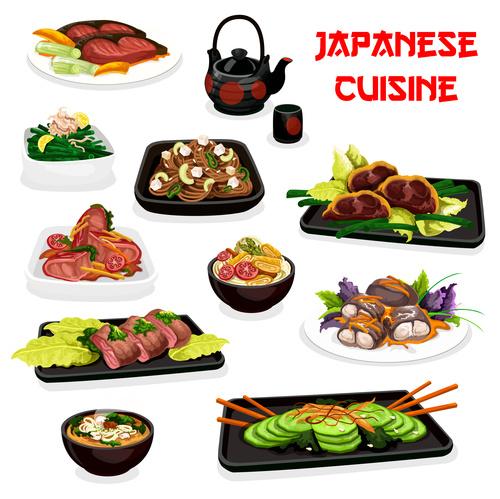 Cartoon cover japan cuisine vector