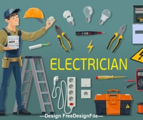 Cartoon electrician professional and tool kit vector