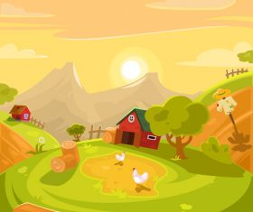 Cartoon farm landscape vector