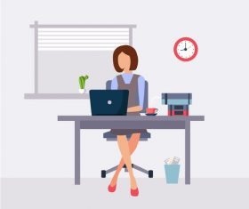 Cartoon female employee at work vector