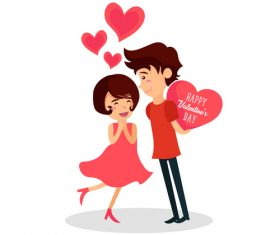 Cartoon happy valentine day vector
