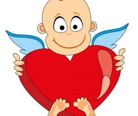 Cartoon holding heart angel vector