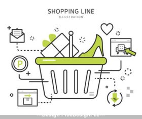 Cartoon line shopping Illustration vector