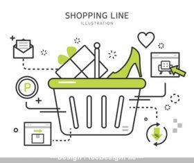 Cartoon line shopping Illustration vector