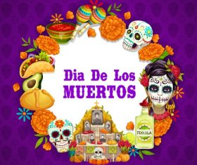 Cartoon mexico dead day celebration background vector