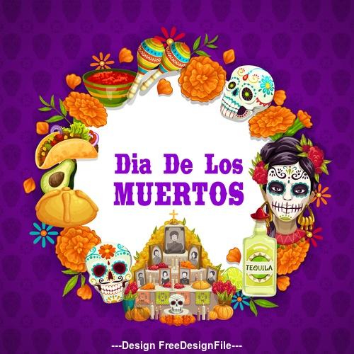 Cartoon mexico dead day celebration background vector