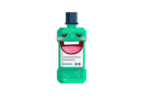 Cartoon mouthwash bottle expression vector