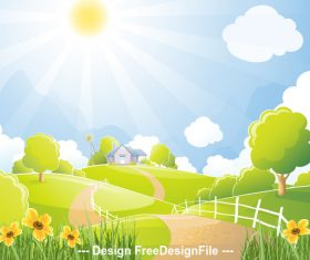 Cartoon pretty farm illustration vector