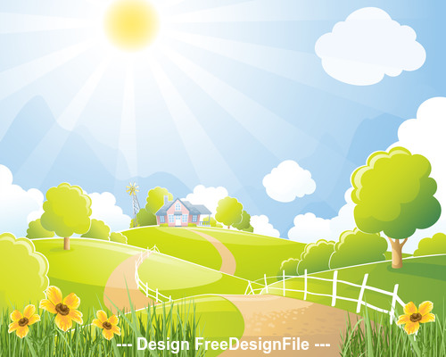 Cartoon pretty farm illustration vector