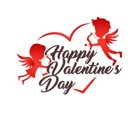 Cartoon romantic happy valentine card vector