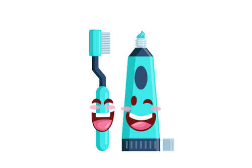 Cartoon toothpaste and toothbrush expression vector