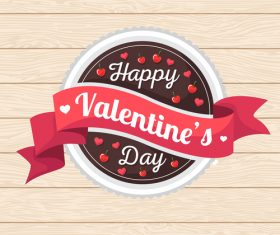 Cartoon valentine day cake vector