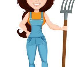 Character Beautiful farm woman illustration vector