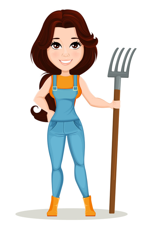 Character Beautiful farm woman illustration vector
