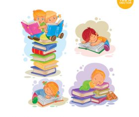 Child cartoon sleeping on the book vector
