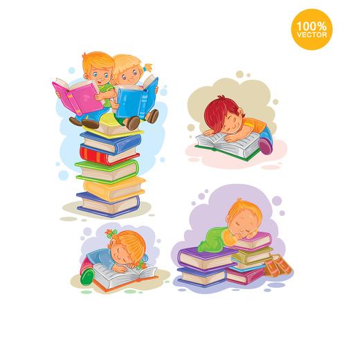 Child cartoon sleeping on the book vector