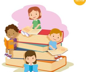 Child reading cartoon vector