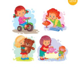 Children happy fun playing games vector