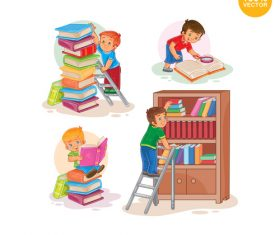 Children sorting books cartoon vector