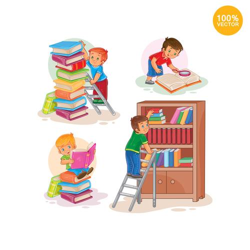 Children sorting books cartoon vector