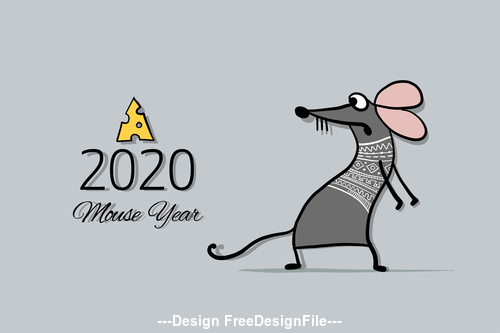 China rat new year 2020 funny cartoon vector 01