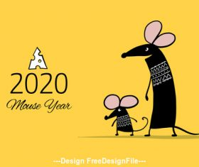 China rat new year 2020 funny cartoon vector 02