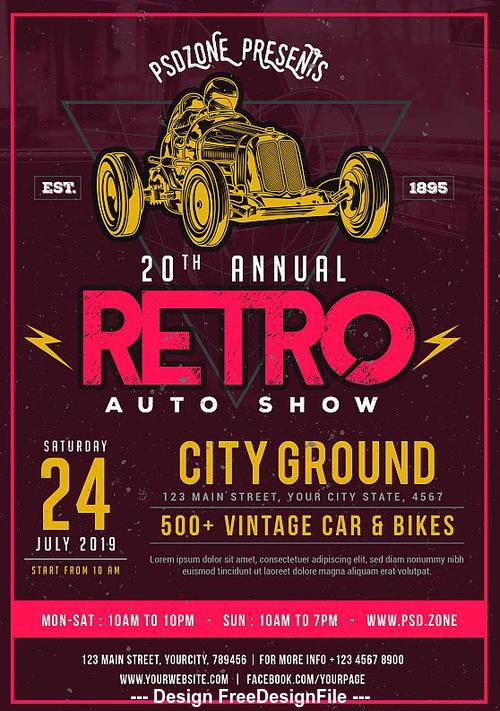 Classic Car Show Poster PSD Template