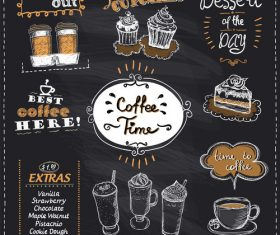 Coffee time chalk multi menu vector