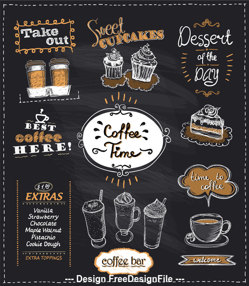 Coffee time chalk multi menu vector