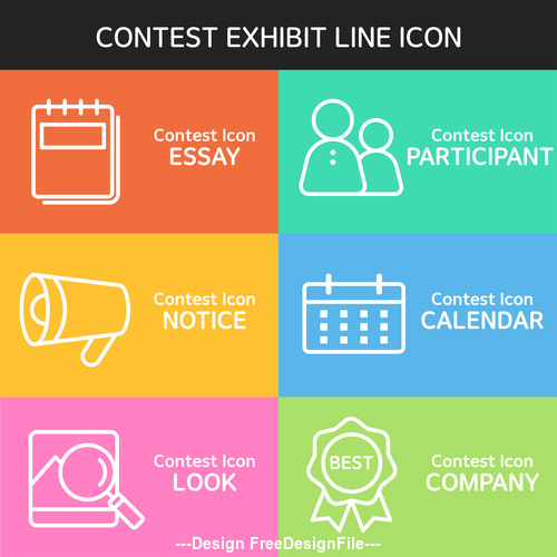 Color contest exhibit icon vector