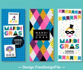 Color festival banner memphis style vector