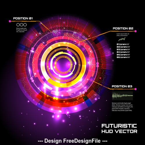 Color futuristic hud vector background