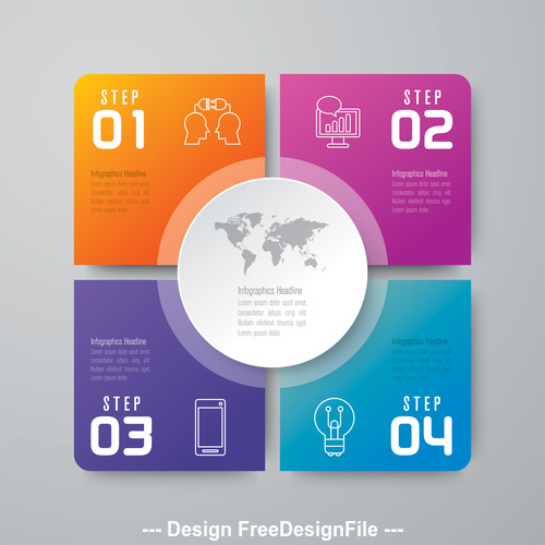 Colorful Squares Infographics Design vector