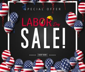 Colorful balloon Labor day sale design vector