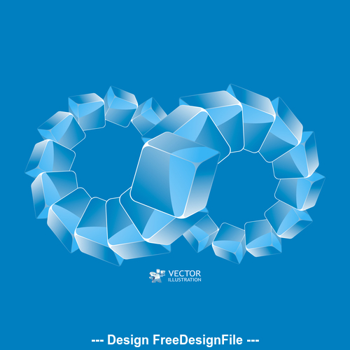 Combination blue 8 word pattern background vector