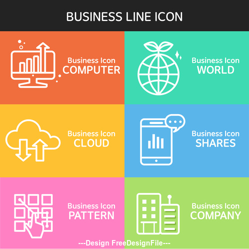 Computer business  line icon vector