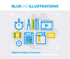 Content features blue line vector