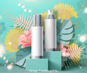 Cosmetic set ads and flowers background template vector